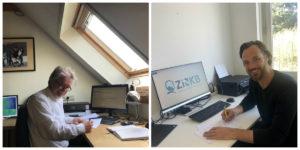 Ton Jans (KiK) en Ruud Verhagen (ZiN Kwaliteitsborging) tekenen de KiK-licentieovereenkomst voor ZiN Kwaliteitsborging op afzonderlijke locaties vanwege het coronavirus